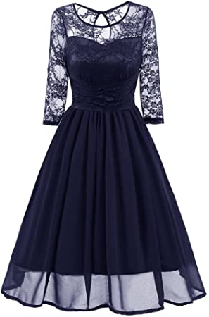 Women/'s New Vintage Lace Formal Wedding Cocktail Evening Party Retro Swing Dress