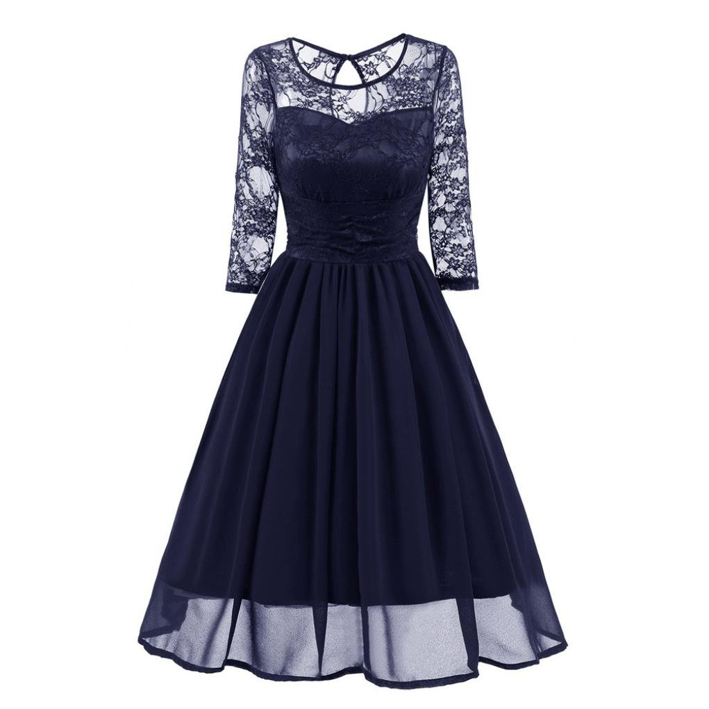 Womens Vintage Lace Evening Party Dress Wedding Work Casual Sexy Hollow High Waist Cocktail Retro Swing Dress (M, Navy)