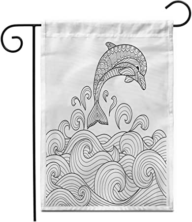 12.5 'x 18' Garden Flag Sketch Zentangle Dolphin Scrolling