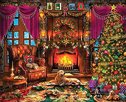 Springbok Puzzles - Cozy Christmas - 1000 Piece Jigsaw Puzzle - Large 24  Inches by 30 Inches Puzzle - Made in USA - Unique Cut Interlocking Pieces