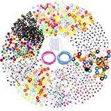 Jovitec 1500 Pieces 10 Style Letter Beads Alphabet Letter Acrylic Letter, Number and Heart Beads with Elastic String Cord and Beading Needle for Jewelry Making Bracelets Necklaces