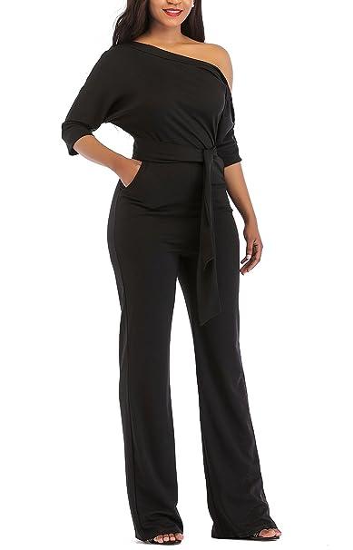 f577042f5bb Holify Women s Elegant Half Sleeve Off The Shoulder Jumpsuits High Waist  Romper with Belt