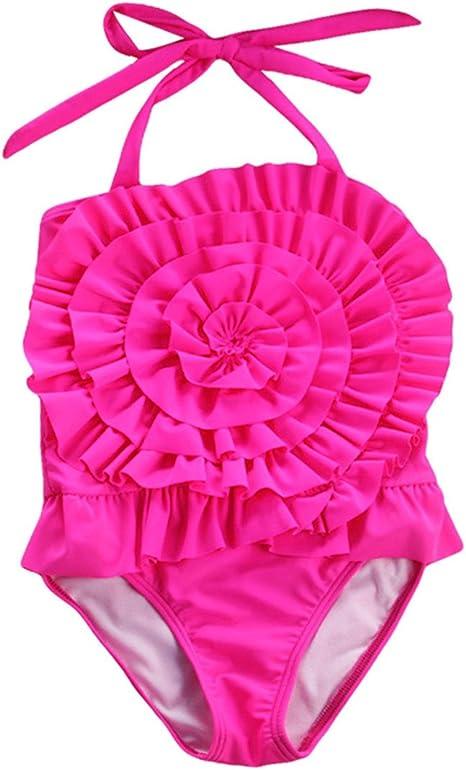 TAIYCYXGAN Toddler Girls One-Piece Swimsuit Lace Tutu Swimwear Bikini Beachwear with Hat