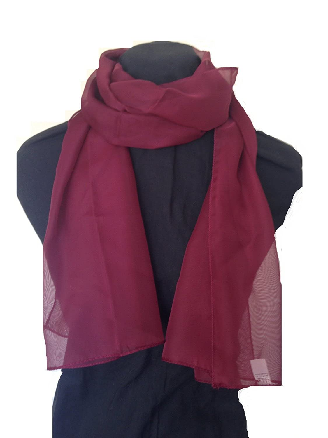 Mytoptrendz® Lady Plain Soft Thin Chiffon Scarves Burgundy FC001BG