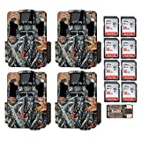 Four Browning Dark Ops Pro XD Dual Lens 24MP 1080p Trail Cameras with Eight 16GB Cards and Focus USB Reader