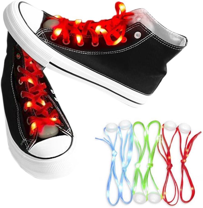 easyDecor (1 par LED enciende para arriba cordones 3 modos Batería Luz intermitenteCordones de zapatos para Fiesta, Bailando, Hip-hop, Running, Decoraciones (rojo): Amazon.es: Hogar