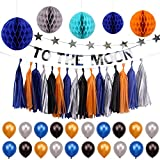 Simla Decor Solar System Outer Space Theme Party Decorations Trip to The Moon and Back Kids Birthday Party Supplies Kits Baby Shower Paper Honeycomb Ball Paper Tassel Bunting Banner Decorations