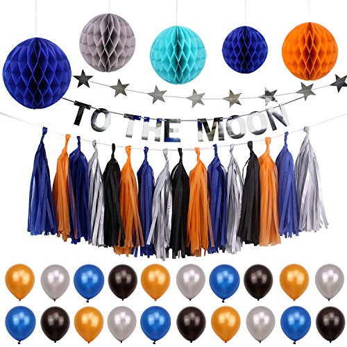 Simla Decor Solar System Outer Space Theme Party Decorations Trip to The Moon and Back Kids Birthday Party Supplies Kits Baby Shower Paper Honeycomb Ball Paper Tassel Bunting Banner Decorations by Simla Decor