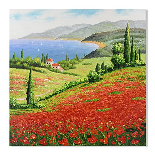 (SEVEN WALL ARTS - Modern Landscape Artwork Italy Tuscan Country Art Red Poppies Flower Field Decorative Artwork with Stretched Frame for Home Decor 32 x 32)