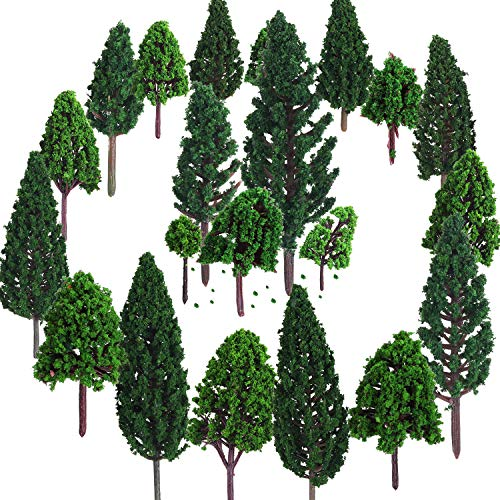 Bememo 22 Pieces Model Trees 1.18 - 6.29 inch Mixed Model Tree Train Trees Railroad Scenery Diorama Tree Architecture Trees for DIY Scenery Landscape, Natural Green