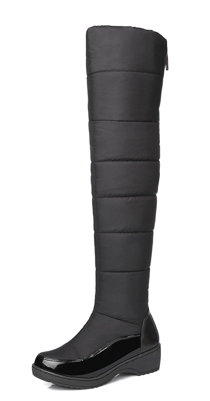 Aisun Women's Warm Comfort Zipper Round Toe Platform Low Heels Dress Over The Knee High Tall Snow Boots Shoes