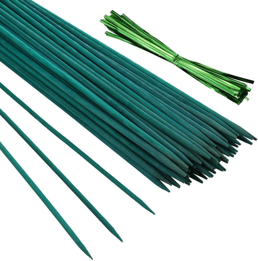 Pllieay 50PCS 15 Inch Green Bamboo Sticks, Green Wood Plant Stakes, Flower Plant Support Sticks with 100 Pieces Green Metallic Twist Ties
