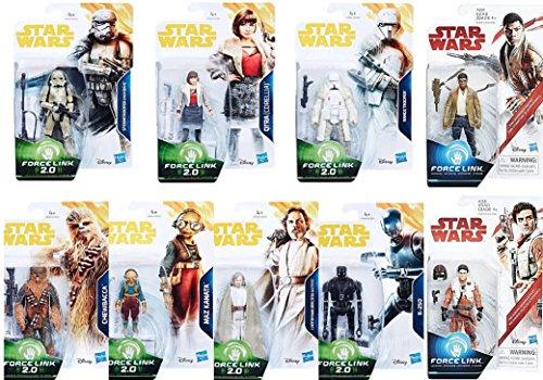 Star Wars Force Link 2 0 The Last Jedi   Solo 3 3 4 Inch Action Figures Wave 1 Set Of 9  Range Trooper  Mimban Stormtrooper  Qi Ra Corellia  Chewbacca  K 2So  Luke Skywalker  Maz Kanata  Finn   Poe