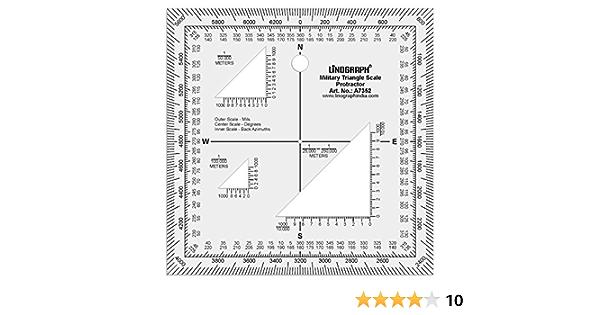 Acrílico claro de Linograph lectura de mapas militares triángulo transportador 5 x 5 pulgadas, color Design#1: Amazon.es: Oficina y papelería