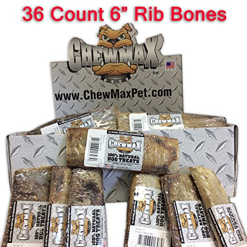 ChewMax Roasted Rib Bones 36 Count of 6 Inch 100% Natural Roasted Rib Bones Made in the USA