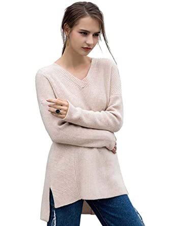 c970d0136a3 FINCATI Sweaters Women 100% Goat Cashmere Pullovers Soft Warm Autumn Winter  V-Neck Off