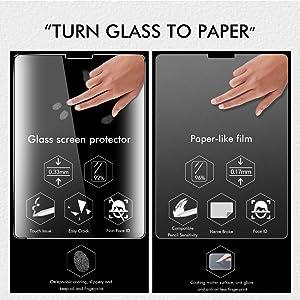 PaperLike iPad Pro 12.9 Screen Protector (3rd Gen),[2 Pack] Paperlike iPad pro 12.9 PET Film for Drawing Anti-Glare and Paper Texture iPad Pro 12.9 Screen Protector with Easy Installation Kit (Tamaño: ipad pro 12.9)