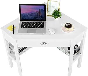 Corner Desk Corner Table - ZENODDLY Corner Computer Desk for Home Office Desks, White Corner Desk with Drawers Storage Shelves Fits 90 Degree Corner, Versatile Corner Desk for Small Space Furniture