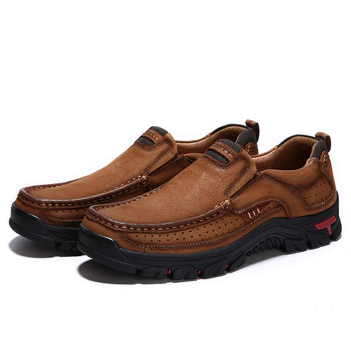 - Genuine Leather schuhe Men Cow Leather Casual Casual schuhe Male Outdoor Men Flats Slip-on Man Footwear Größe 38-48 Light braun 47  günstig neu kaufen