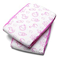 LittleForBig Printed Adult Brief Diapers Adult Baby Diaper Lover ABDL 2 Pieces - Nursery Pink(L)