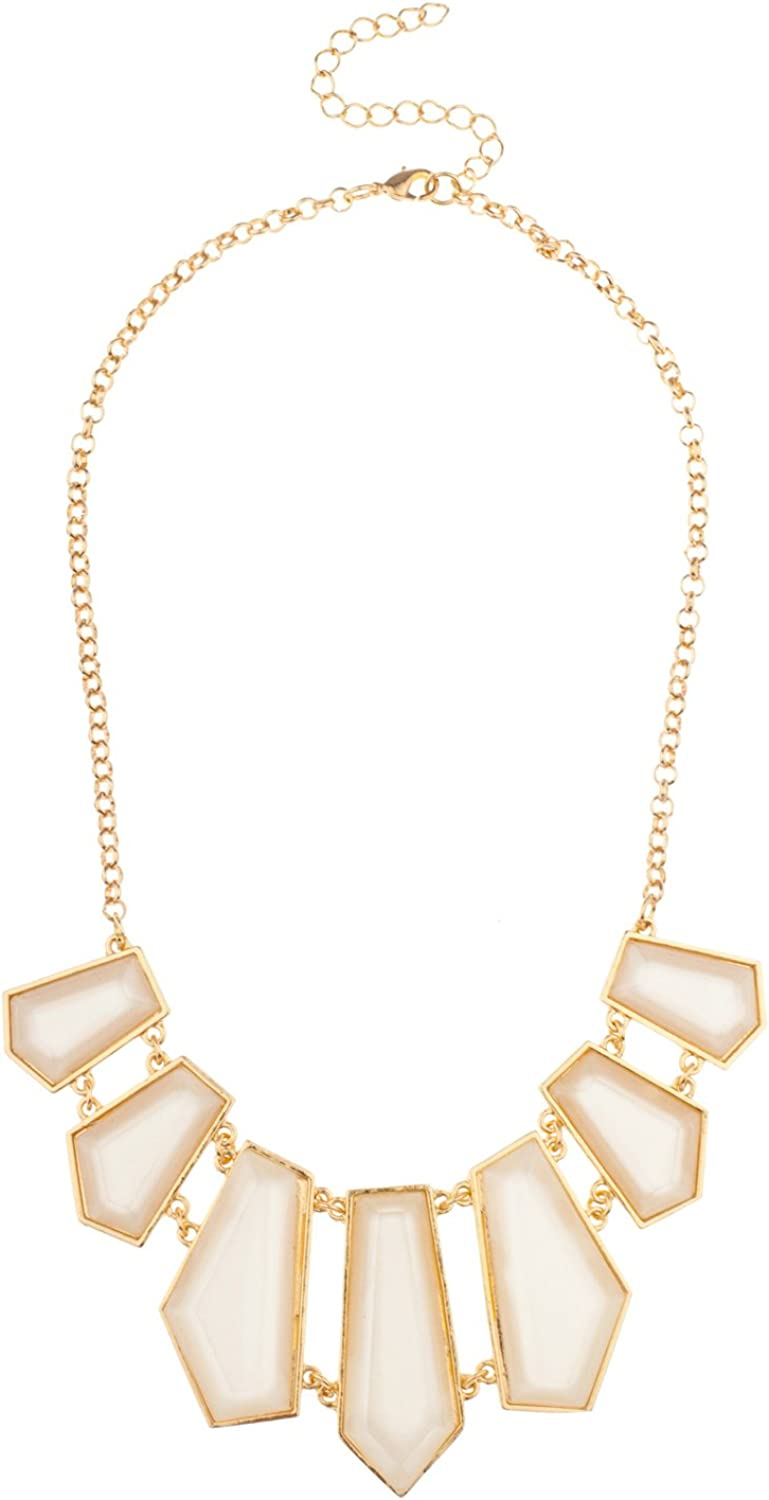 Lux Accessories  Geo Red Statement Bib Chain Necklace
