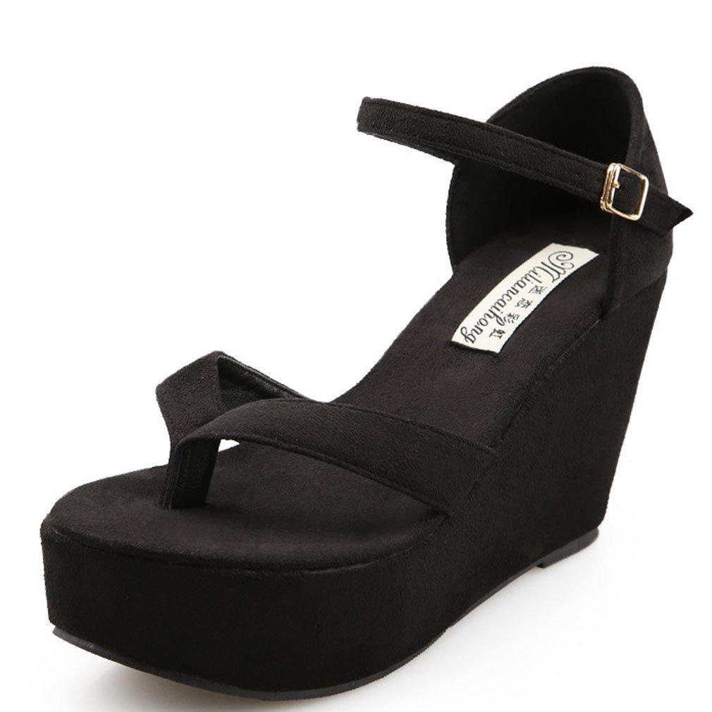 Xianshu Femmes Toe Clip Orteil Sandales Romaine Plate-Forme Wedge Noir Talon Sandales Chaussures Peep Toe Boucle Chaussures Noir 9b995af - piero.space