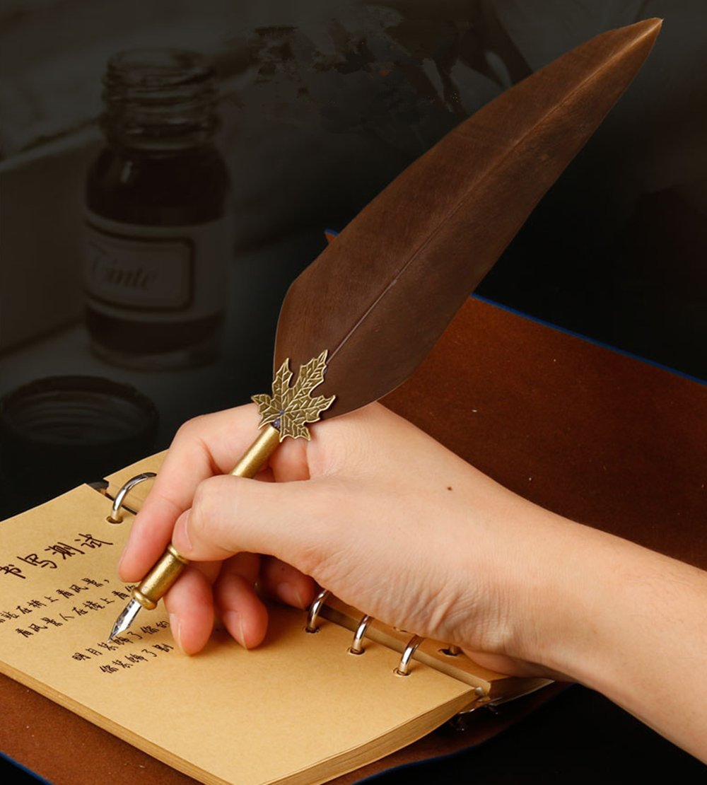Quill Pen Feather Pen Set, GloDeals Calligraphy Pen Antique Writing Dip Pen Ink and Quill Set with The Ink in Bottle Leather Journal Notebook by GLODEALS (Image #2)