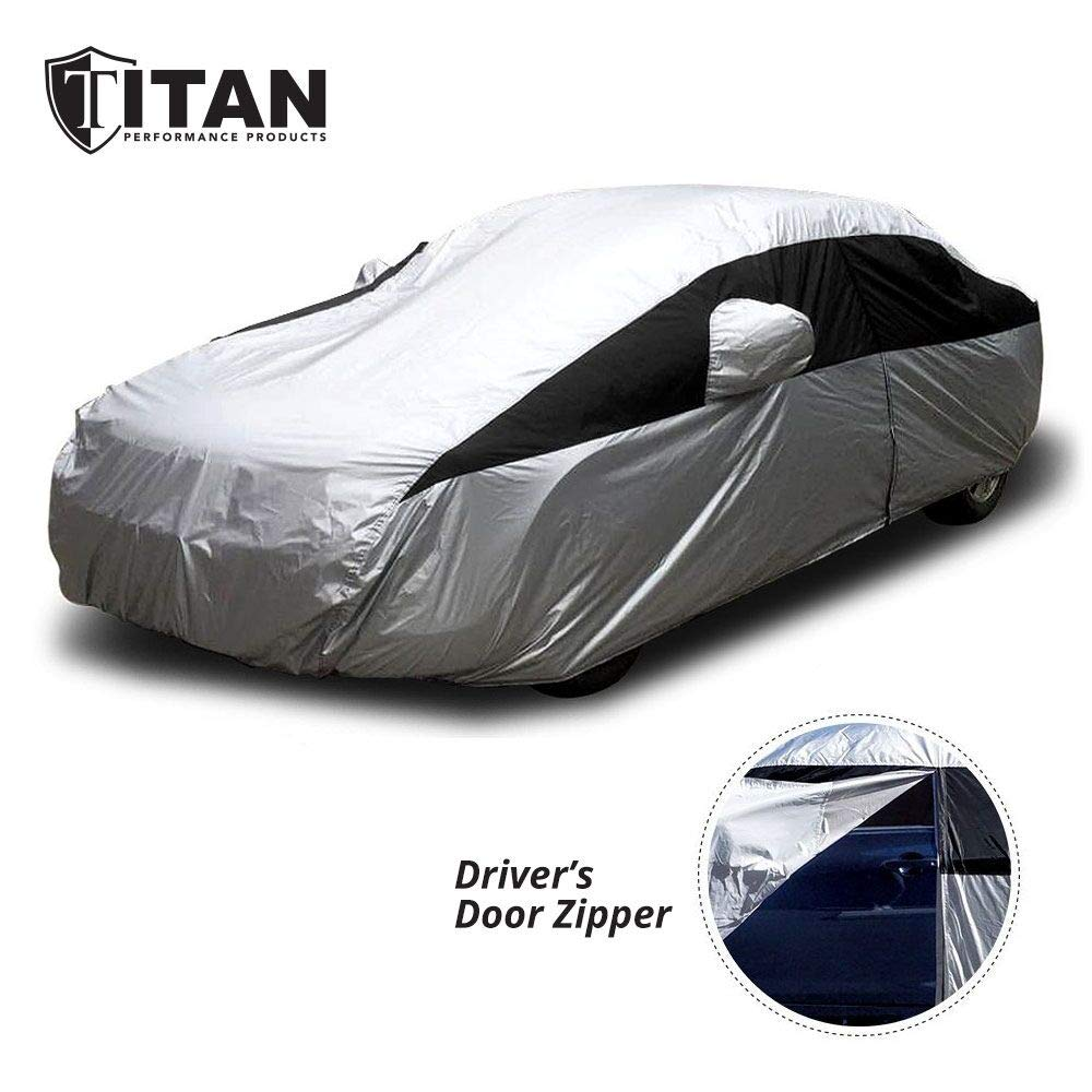 Titan Lightweight Car Cover for Toyota Camry, Mustang, and More. Waterproof Car Cover Measures 200 Inches, Comes with 7 Foot Cable and Lock. Features a Driver-Side Zippered Opening for Easy Access. by Titan Performance Products