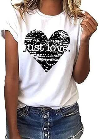 Camiseta Mujer algodón Tallas Grandes Verano Camisetas ...