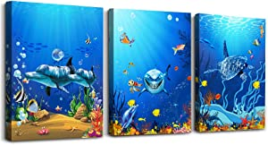 Canvas Wall Art for Living Room Canvas Prints Artwork Bathroom Wall Decor 3 Piece Bedroom Wall Decorations Office kitchen Home Decoration Blue sea Fish tortoise ocean Landscape Watercolor Painting