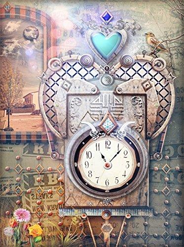 Leowefowa Vinyl 5X7FT Fairytale Backdrop Retro Clock Birds Jewelry Pendants Flowers Shabby Wallpaper Cartoon Photography Background Kids Girls Photo Studio Props