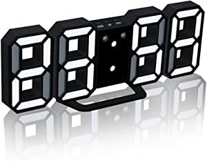 EAAGD Electronic LED Digital Alarm Clock [Upgrade Version], Clocks Can Adjust The LED Brightness Automatically in Night (Black/White)
