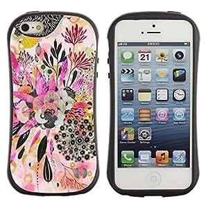 "Hypernova Slim Fit Dual Barniz Protector Caso Case Funda Para Apple iPhone SE / iPhone 5 / iPhone 5S [Planta de Arte Dibujo Abstracto""]"