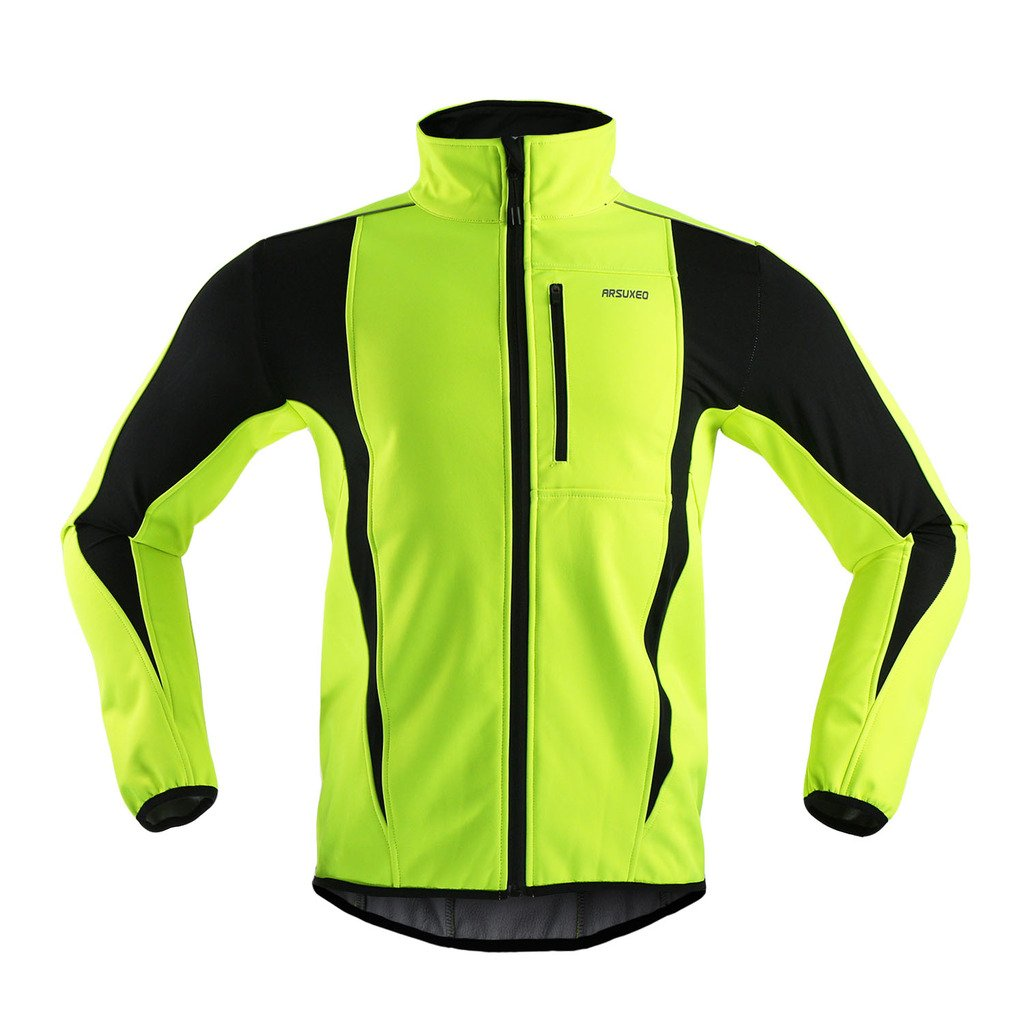 ARSUXEO Winter Warm UP Thermal Softshell Cycling Jacket Windproof Waterproof Bicycle MTB Mountain Bike Clothes 15-K Green Size X-Large