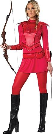 UHC Womenu0027s Red Warrior Huntress Hunger Games Katniss Halloween Fancy Costume ...  sc 1 st  Amazon.com & Amazon.com: UHC Womenu0027s Red Warrior Huntress Hunger Games Katniss ...