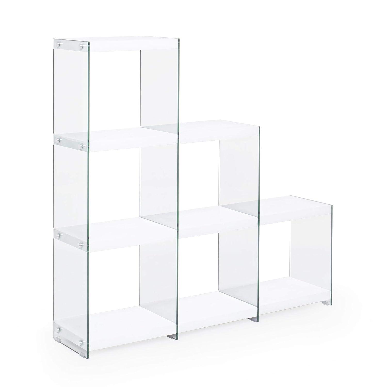 ARREDinITALY estantería de Escalera con Cadera de Cristal Templado. repisas de Madera DM con Revestimiento de PVC 3D Efecto ácido cítrico para Montar.