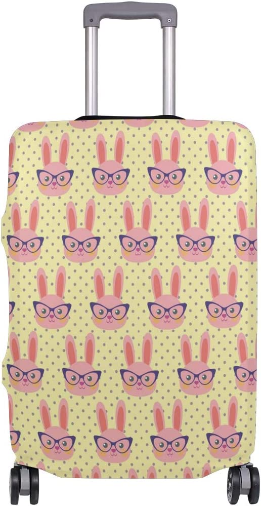 Fashion Travel Pink Smart Bunny With Glasses Yellow Luggage Suitcase Protector Washable Baggage Covers