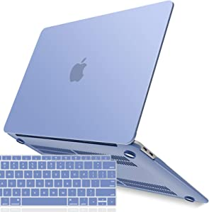 IBENZER MacBook Air 13 Inch Case 2020 2019 2018 New Version A2179 A1932, Hard Shell Case with Keyboard Cover for Apple Mac Air 13 Retina with Touch ID, Serenity Blue, MMA-T13SRL+1