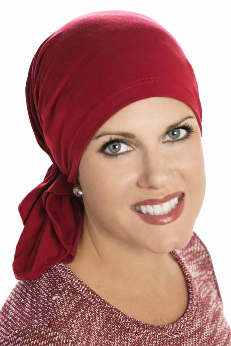 Slip-On Scarf - Pre-Tied Scarf - Head Scarves I Cancer Chemo Scarfs Red
