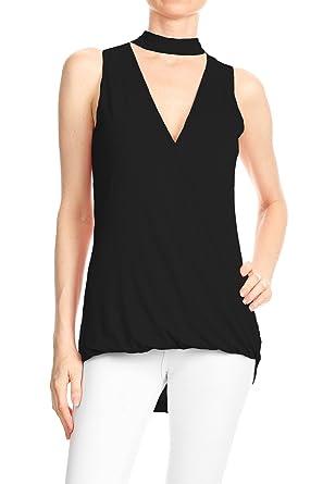 69e2ed416d4f Anna-Kaci Womens Summer Casual Sleeveless Choker V Neck T Shirt Tops Blouse