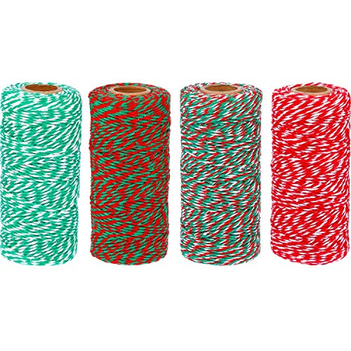 TecUnite 1312 feet Totally Christmas Baker Twine Cotton String Gift Wrap Cord for Christmas Gift Wrapping Arts Crafts, 4 Rolls, Assorted Colors