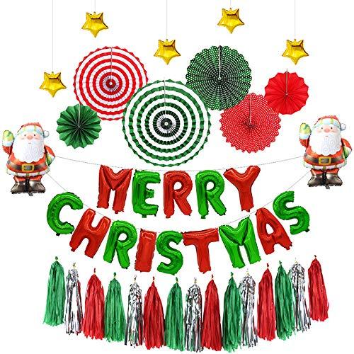 Fabric Tassel Set (FEZZ Paper Fans Flowers Merry Christmas Balloon Tassel Decorations (Pack of 29pcs))