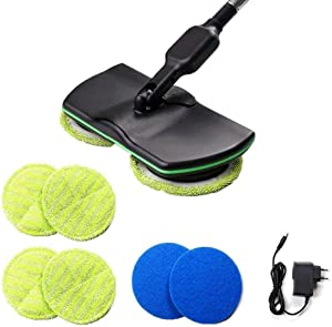 Wireless Electric Spin Mop Cordless Floor Mop,Rechargeable Powered Floor Cleaner Scrubber with Adjustable Handle and 4Microfiber Pads and 4Polisher
