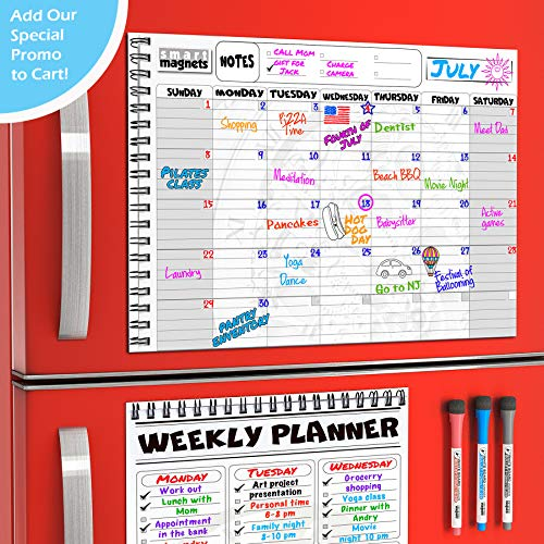 Weekly Calendar Perpetual (Magnetic Monthly Planner Board SET for Kitchen Fridge - Large Dry Erase Calendar Monthly Organizer with To Do List Notepad and Dry Erase Weekly Planner Whiteboard with Reusable Grocery List Magnet Pad)
