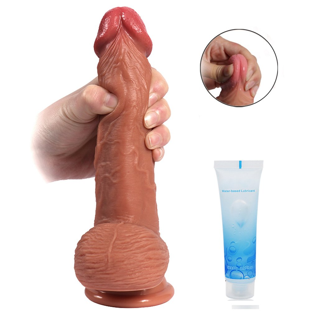 Realistic Silicone Dildo with Suction Cup - Adorime 8 inch Double Layer Thick Penis Dong Cock Sex Toys for Women Vaginal G-spot and Anal Play