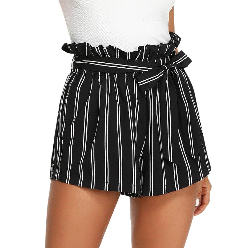 Women Retro Stripe Casual Fit Elastic Waist Pocket Self Tie Short Pants Black-2, CN L