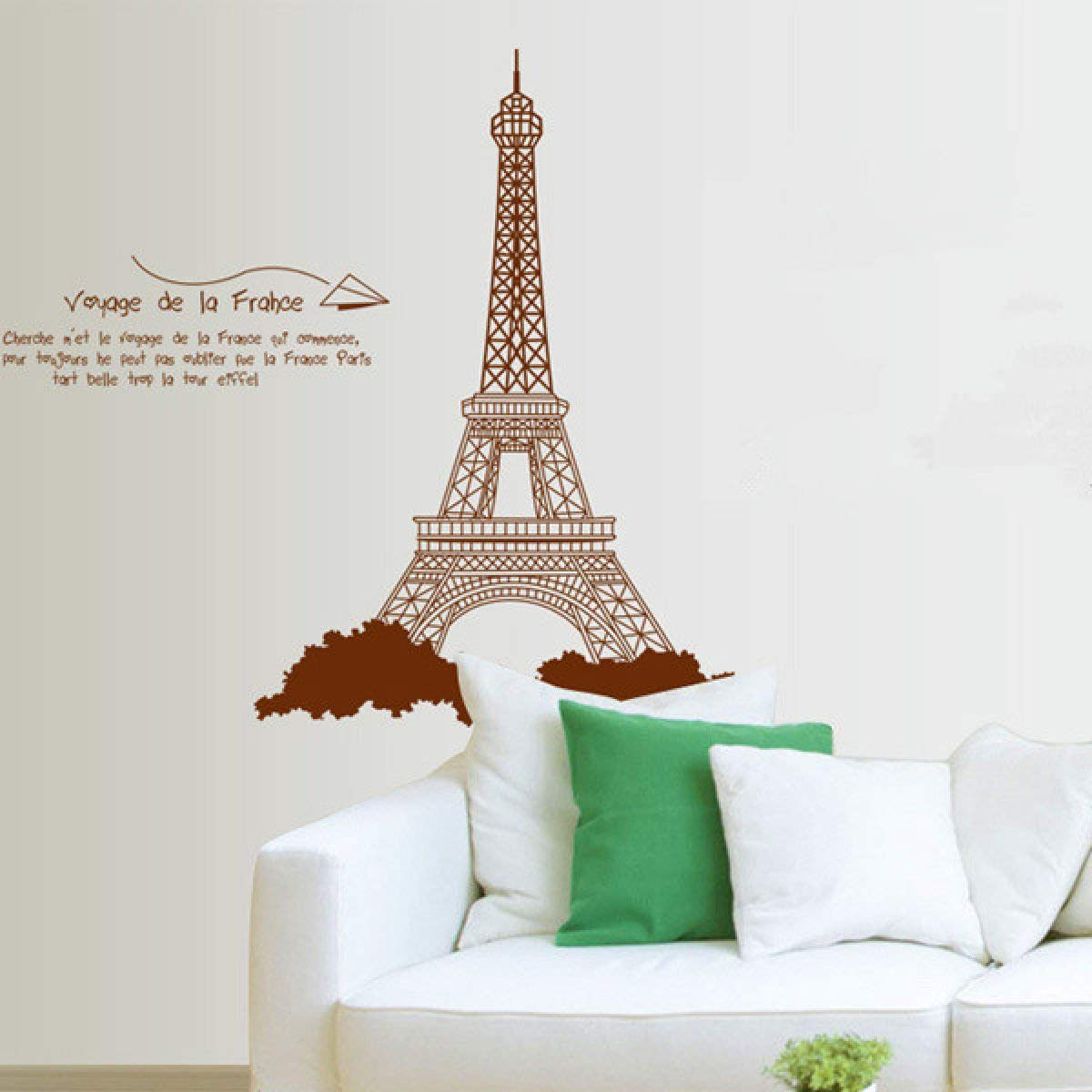 Fancuistore Eiffe Tower Removabe PVC Wa Stickers Brown ...