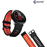 ACUTAS Silicone Replacement Band Strap For Xiaomi Amazfit Wristband (Black&Red)