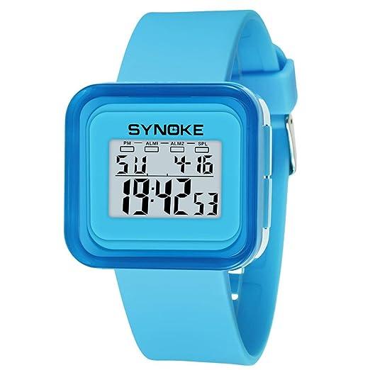 Deporte Muñeca Relojes Digitales LED Tecnología para Niños Niñas estudiante pulsera impermeable (Azul): Amazon.es: Relojes