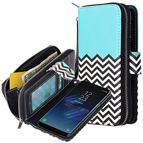Galaxy S8 Case, E LV Galaxy S8 Case Cover - PU Leather Flip Folio Wallet Purse Case Cover for Samsung Galaxy S8 - [ZIGZAG]